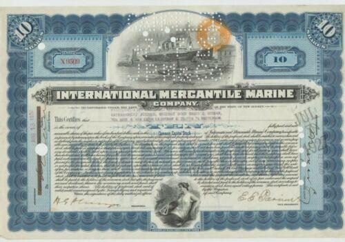 1920 International Mercantile Marine Company Stock Certificate