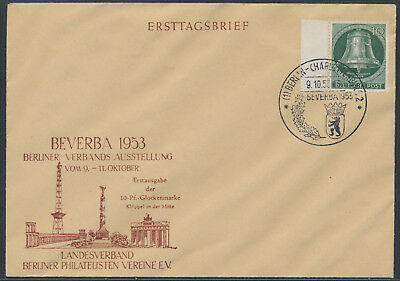 Berlin 10 Pfennig Freiheitsglocke BEVERBA Ersttagsbrief FDC 1953 (S15195)