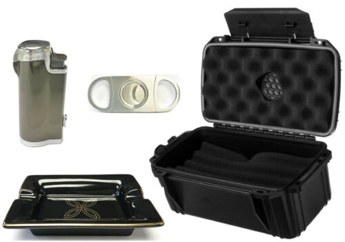 HHB 4-Piece Cigar Holiday Gift Set, Incl. Humidor, Cutter, Ashtray & Lighter!