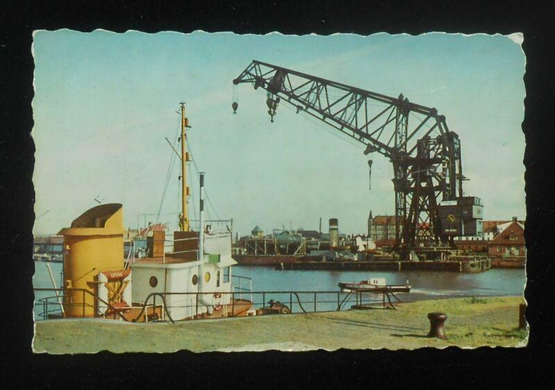 1950s Der Größte Schiffshebekran Ship Crane Tug Boat Barge Bremerhaven Germany
