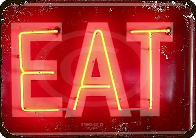 Eat Neon Vintage Look Reproduction Metal Sign 8X12 Made Usa Not Actual Neon Sign