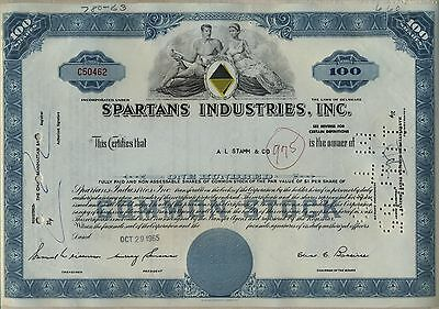Spartan's Industries, Inc. Stock Certificate Blue