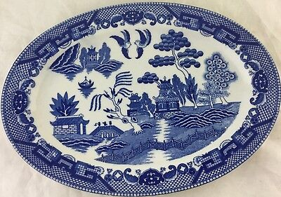 VINTAGE BLUE WILLOW WHITE BLUE CHINESE JAPANESE TRANSFERWARE SERVING OVAL TRAY Chinese Blue Willow