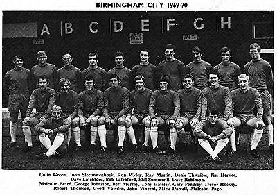 BIRMINGHAM CITY FOOTBALL TEAM PHOTO 1969-70 SEASON