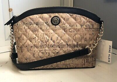 NWT Anne Klein Classic Curves Crossbody Handbag Quilted Tan Gold Black Trim