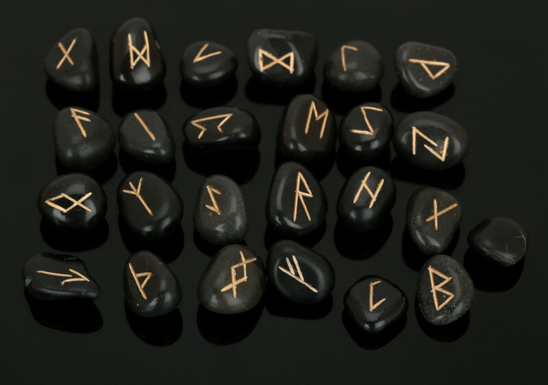 Black Tourmaline Stone Rune Set Symbols Real Healing Crystal Runes 25 Pcs.