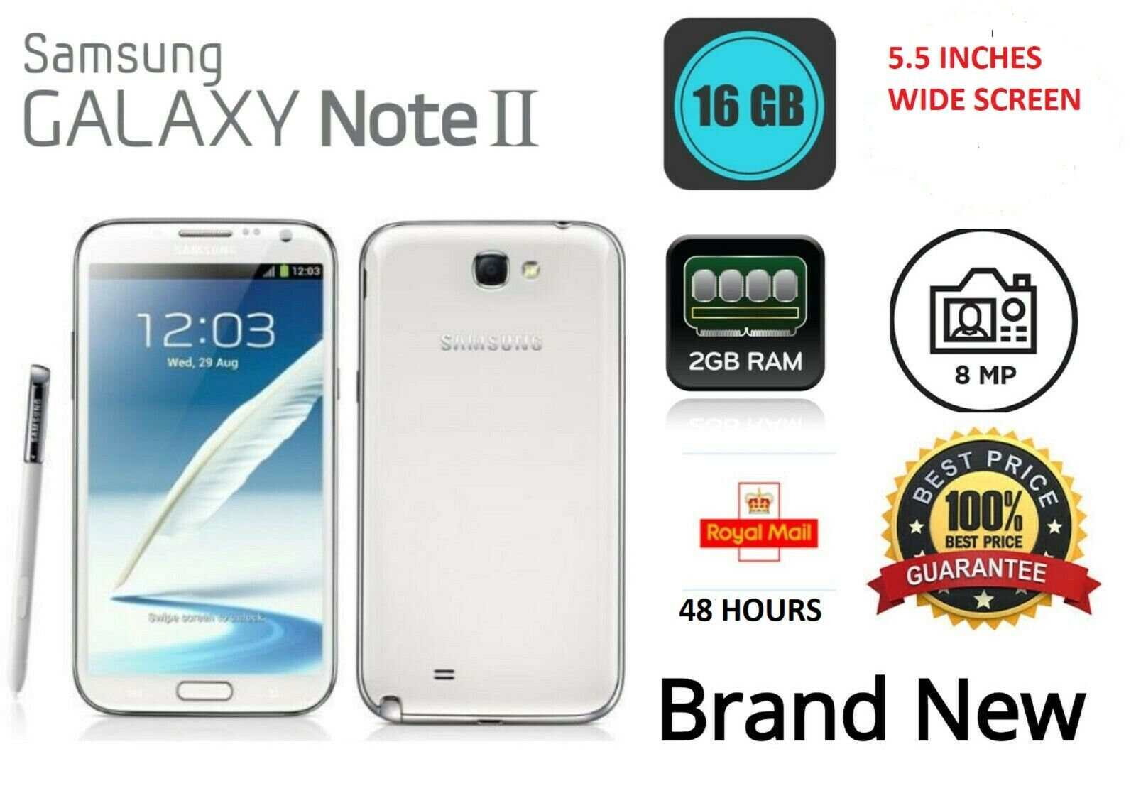 """Android Phone - 5.5"""" Samsung Galaxy Note 2  Unlocked 16GB 3G Android Mobile Phone UK"""