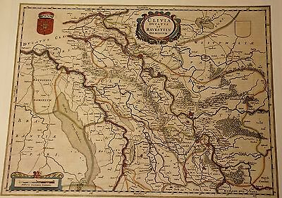 Historische Landkarte Kleve Rhade Diepenbrock Qualburg Venlo Wesel Hamborn 1658.
