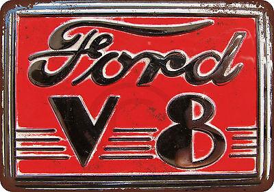 Ford V 8 Vintage Reproduction Metal Sign 8 X 12