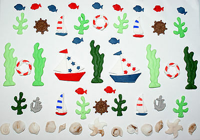 Birthday cake decorations, sea theme, boats, nautical, fish cake decorations. - Nautical Cake Decorations