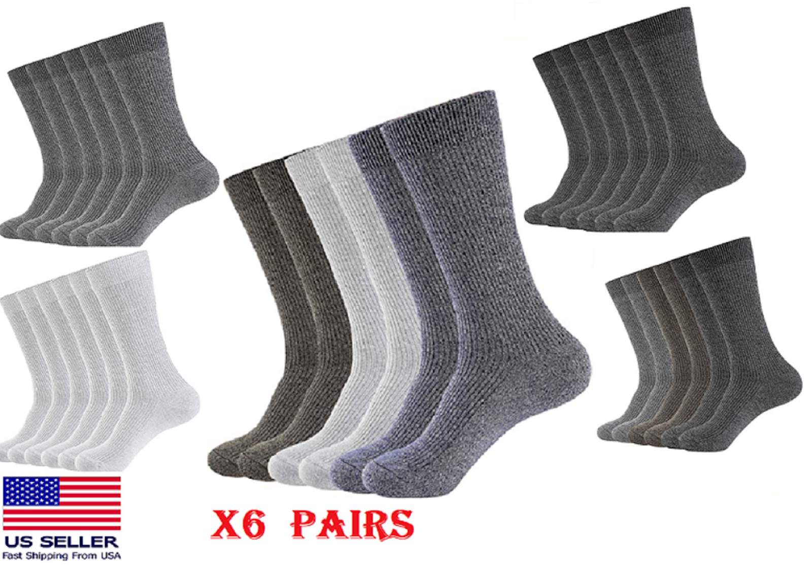 WANDER 6 PAIRS Men Crew Socks Moisture Breathable HIGH QUALITY Everyday Socks X6 Clothing, Shoes & Accessories