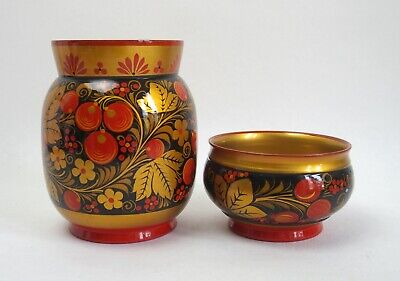 Vintage USSR khokhloma handpainted lacquered wooden vase and bowl