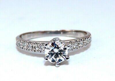 GIA Certified .73ct round cut diamond Raised Tulip ring Platinum