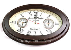 Nautical Oval Shape Wooden Wall Clock World Time Clock Vintage Wall Home Decor