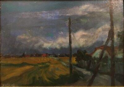 """DEUTSCHER EXPRESSIONIST 1948 """"Mein Elternhaus"""" Original Ölgemälde 31,5x44 (Deutsche Expressionisten)"""