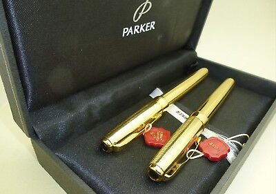 Gold Parker Sonnet Fountain Pen 18k M Nib with Rollerball and Box,