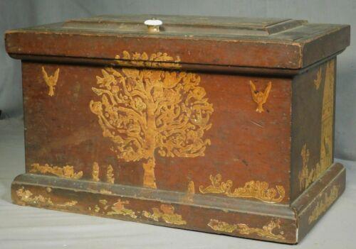 Antique SOLID Cherry Wood 1885 Humidor Box Folk Art Decoration Fraktur Cut Outs