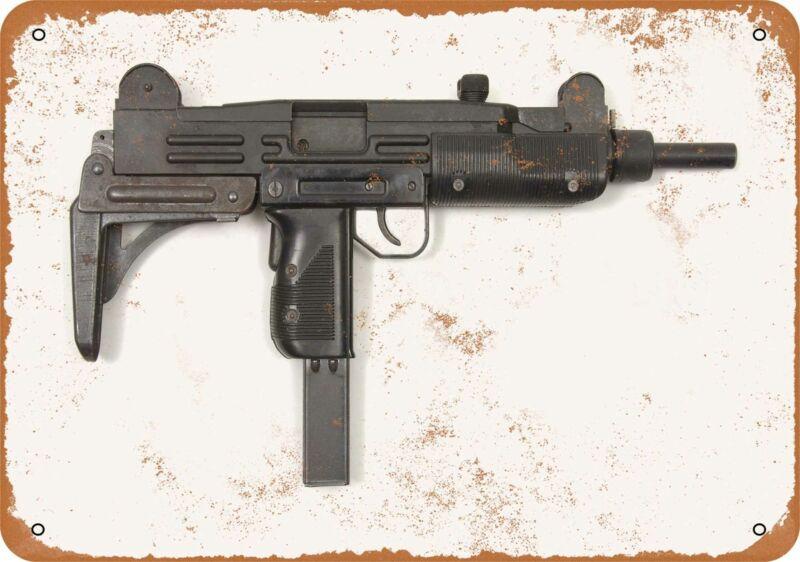 Metal Sign - Gun Art - Uzi Submachine Gun -- Vintage Look