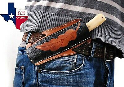 CUSTOM MADE PURE LEATHER HAND ENGRAVED HORIZONTAL SHEATH FOR FIXED BLADE KNIFE 8