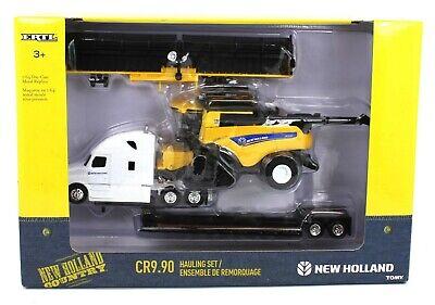 ERTL 1:64 NEW HOLLAND Freightliner Cascadia Semi Lowboy & CR9.90 Combine Draper