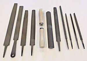 12 pc Steel File Wood Rasp Set Metal Half Round Mill Saw Flat Shoe Handle