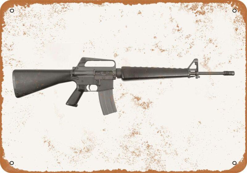 Metal Sign - Gun Art - M16 Rifle -- Vintage Look