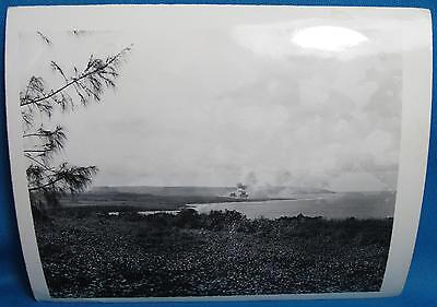WWII USMC US Army Marines South Pacific Battle Fire Smoke Original Photograph