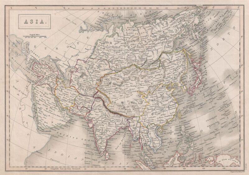 1840 Black Map of Asia