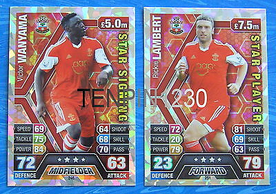 MATCH ATTAX 2013/2014 SOUTHAMPTON STAR PLAYER & STAR SIGNING CARDS