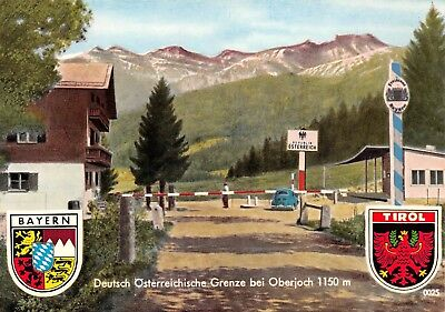 AK Deutsch Österreichische Grenze bei Oberjoch Schlagbaum Postkarte