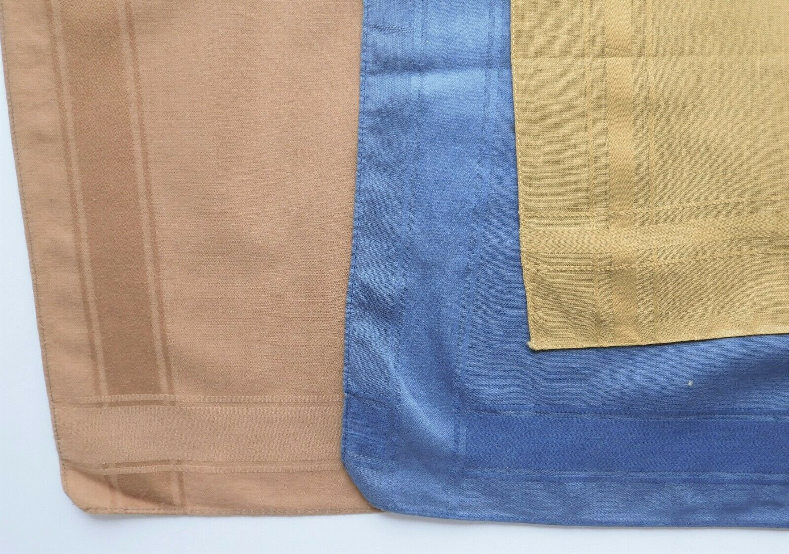 "3 vintage pocket handkerchiefs brown blue mustard 16"" square coloured hankies lm"
