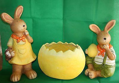 Ostern Osterhasenpaar und Dekopflanzer Eierschale 3erSet bis 51 cm h Dekoration