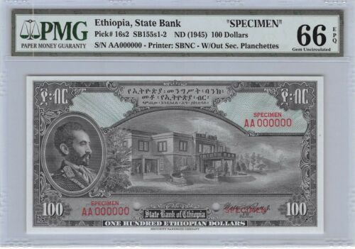 Ethiopia  $100  ND. 1945 Specimen Series AA  PMG 66 EPQ  Uncirculated Banknote