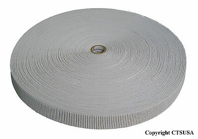 Non-Roll Ribbed Elastic White 1-1/2