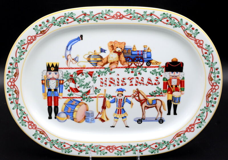 "Block Spal Whimsy Christmas * OVAL PLATTER * Nutcracker, 16"", Never Used"
