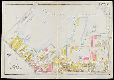 1910 SOUTH BOSTON MA MONK'S WHARF KING TERMINAL E2ND-RESERVE CHANNEL ATLAS (Boston Terminal Map)