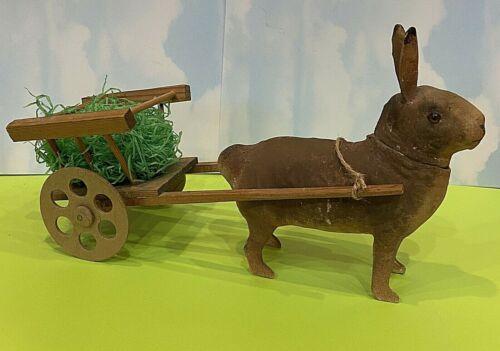 Antique Easter Bunny Rabbit Paper Papier Mache Candy Container Wagon German