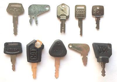 Heavy Equipment Key Set 10pc Case Cat Jd Jcb Komatsu Hitachi Volvo - Oem Logo