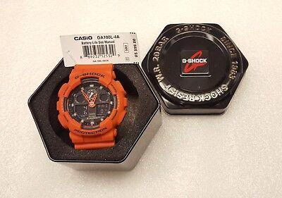 Casio G-Shock Orange Resin Analog/Digital Mens Watch - GA-100L-4ACR ()