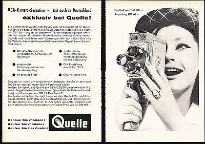 3w1703/ Alte Reklame von 1960 - QUELLE - Mansfield Optomax Super-8 Kamera