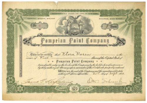 Pompeian Paint Company. Stock Certificate. New York. 1910