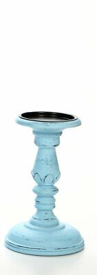"""Hosley 8"""" High Wood Pillar Candleholder, Blue Wash with Carved Flower Petal Di.."""