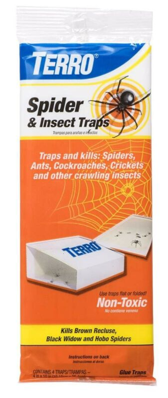 TERRO Spider and Insect Indoor Non-Toxic Glue Traps Home or Business (4-Pack)