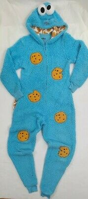 Sesame Street Cookie Monster Adult One Piece Coveralls Pajamas Furry Costume XS