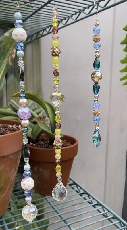 Crystal Beaded Suncatcher Sun Catcher Glass Beads Reflective Prism Blue Purple