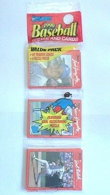 Donruss 1990 Baseball Puzzle & Cards Value Pack Unopened 42 Cards, 9 Puzzle - 1990 Baseball Card Values