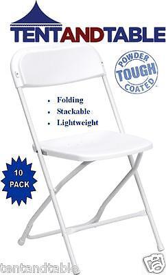 10 Blanca Comercial plástico plegable silla sillas del banquete de boda apilable