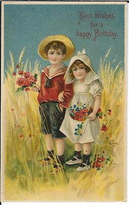 AI-043 - Best Wishes, Happy Birthday, Boy Girl 1901-1907 Undivided Back