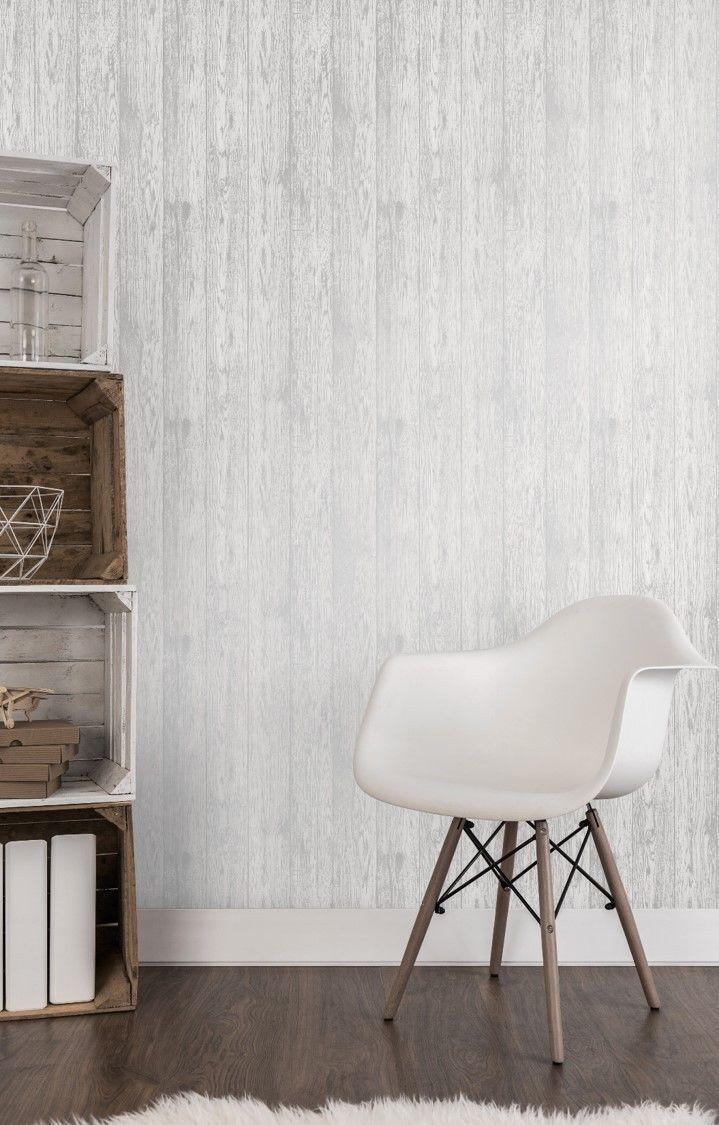 Love Your Home Metallic White Silver Wood Panel Wallpaper Fine Decor