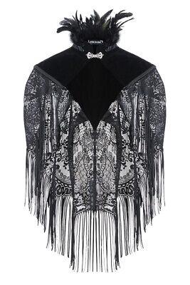 Dark In Love Gothic Black Victorian Velvet Lace Steampunk Shrug Shawl Cape BW041